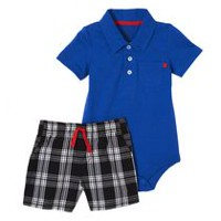 George baby Boys' Bodysuit & Shorts Set Black & Blue 0-3 months