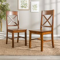 Walker Edison Antique Brown Wood Dining Chair