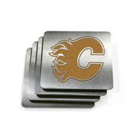 NHL Boasters Flames Heavy Duty Stainless Steel Coasters, Set of 4