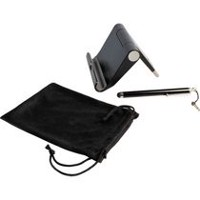 CTA Digital Travel Kit with Stand, Stylus & Microfiber Pouch for Tablets and Smartphones