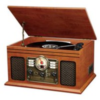 Innovative Technology 6-in-1 Turntable Bluetooth Wooden Music Center - ITVS-200B