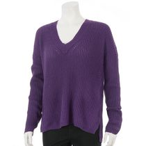 George Women's Ribbed Popover V-Neck Sweater Purple XXL
