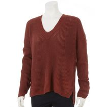 George Women's Ribbed Popover V-Neck Sweater Maroon XL/TG