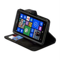 LBT Black Lambskin Wallet Case for Nokia Lumia 625