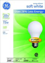 GE Energy-Efficient 72W A19 4PK