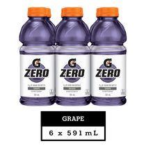 Gatorade G Zero Grape Electrolyte Beverage, 591 mL Bottles, 6 Pack