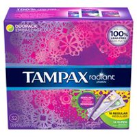 Tampax Radiant Plastic Regular & Super absorbancy Tampons Duo Pack
