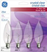 GE Crystal Clear 25W Bent Tip 4PK