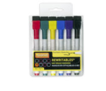 Rewritable Markers - 6 pack Assorted Colours