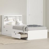 South Shore Spark Twin Storage Bed and Bookcase Headboard Pure White