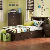 South Shore Spark Twin Storage Bed and Bookcase Headboard Chocolate