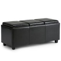 WyndenHall Franklin Extra Large Rectangular Storage Ottoman with 3 Serving Trays Black