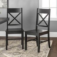 Walker Edison Antique Black Wood Dining Chair
