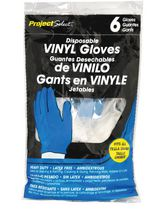 Project Select Disposable Vinyl Gloves, Pack of 6