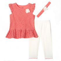 George Toddler Girls' Lace Peplum Top with Capri and Headband, 3-Piece Set 5T