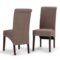 WyndenHall Franklin 2 Pack Deluxe Parson Dining Chair Light Mocha