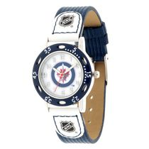Youth NHL Winnipeg Jets Blue Ribbed Strap Analog Watch