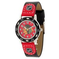 Youth NHL Chicago Blackhawks Black Ribbed Strap Analog Watch