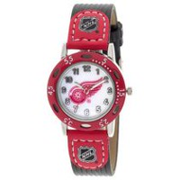 Youth NHL Detroit Red Wings Black Ribbed Strap Analog Watch