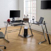 Manor Park Modern Glass Corner Computer Desk and Gaming Desk - Multiple Finishes