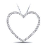 0.14 Ct T.W. Diamond Heart Pendant in 14 K White Gold with 18'' Rope Chain