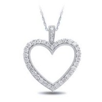 0.45 Ct T.W. Diamond Heart Pendant in Sterling Silver with 18'' Chain