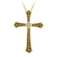 "0.23 Ct. T.W. Brown Diamond Cross Pendant in 10K yellow Gold with 18"" Chain"