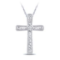0.01 Ct T.W. Diamond Accent Cross Pendant in Sterling Silver with 18'' Chain