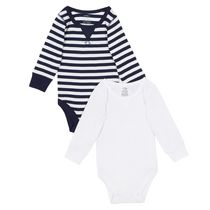 George baby Boys' Jersey Bodysuit, 2-Pack Navy 0-3 months