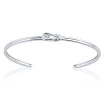 0.04 Ct. Round Brilliant Diamond Knot Cuff Bracelet in Sterling Silver