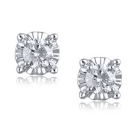 Miracle Set Stud Earrings with 0.25ct Round Diamonds in 10K White Gold