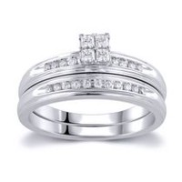 0.23 Ct. T.W. Quad Princess Cut Diamond Bridal Set in 10K White Gold
