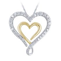 "0.25 Ct T.W. Diamond Double Heart-Shaped Ribbon Pendant in Sterling Silver with 18"" Chain"