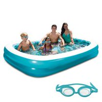 Blue Wave 103' x 69' 3D Inflatable Rectangular Family Pool