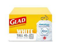 50 sacs à ordures blancs longs ForceFlex de Glad d'une capacité de 45 L