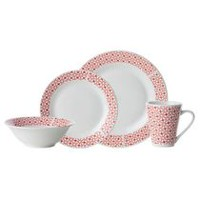 H2K Red Geometric Dinner Set