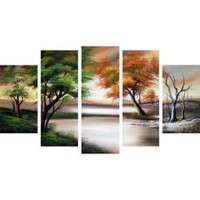Design Art -Seasons Change on the Water- Hand Painted Canvas Oil Painting- 60 x 32 in - 5 Pieces