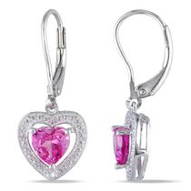 Tangelo 2 Carat T.G.W. Created Pink Sapphire and Diamond Accent Sterling Silver Dangle Heart Earrings