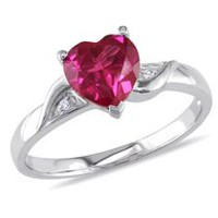 Tangelo 1.63 Carat T.G.W. Created Ruby and Diamond Accent Sterling Silver Heart Ring 7