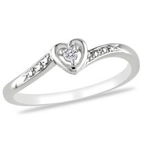 Miabella Diamond Accent Sterling Silver Heart-Shaped Promise Ring 8.5