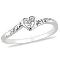 Miabella Diamond Accent Sterling Silver Heart-Shaped Promise Ring 10