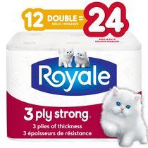 Royale 3 Ply Strong, papier hyg., 12 roul doubles équivalant à 24 ord.