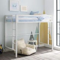 Walker Edison Premium Deluxe Twin Metal White Loft Bed