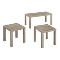 Walker Edison 3 Piece Wood Coffee Driftwood End Table Set