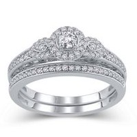 10K White Gold JK-I2I3 Diamond Bridal Ring Set 070