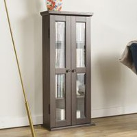 Walker Edison Espresso Wood Media Storage Tower Cabinet