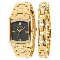 Elgin Men's Gold-Tone Watch and Braclet Set