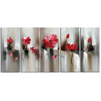 Design Art- Red Modern Flower Art - Gallery Wrapped Canvas
