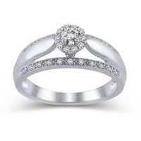 10K White Gold JK-I2I3 Diamond Engagement Ring 070