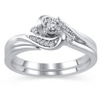 Sterling Silver JK-I2I3 Diamond Bridal Ring Set 080